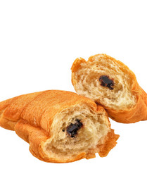 chocolate croissant on white background