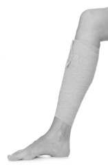 Bandaged leg with elastic bandage on white background.