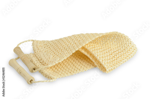 Natural luffa sponge with wooden handles isolated