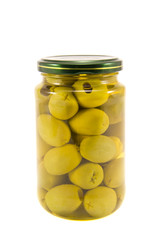 Green canned olives on white background