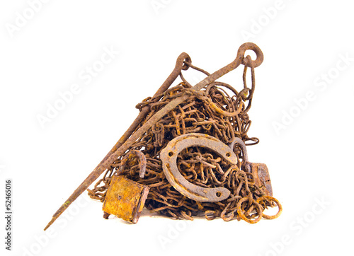 rusty and aged metal iron scrap isolated