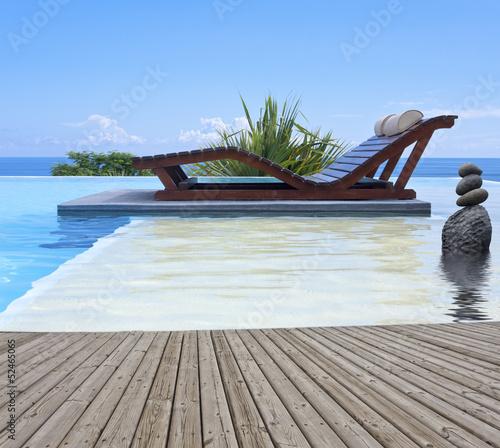 bois et eau pour une piscine relaxante  feng-shui