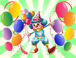 A clown between a group of balloons