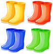 Four boots in different colors