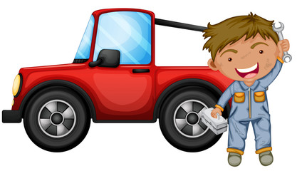 A boy fixing the red jeep