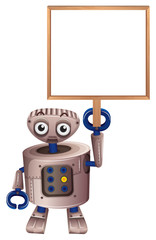 A robot holding an empty board