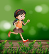 A girl running at the forest