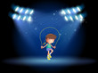 A girl playing jumping rope under the spotlights