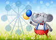 An elephant with balloons in front of the ferris wheel