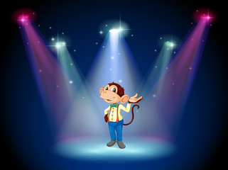 A monkey standing at the stage