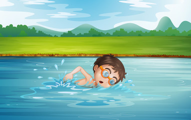 A young man swimming