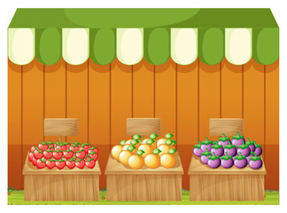 Three fruitstands with empty boards