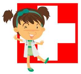 A nurse in front of the Switzerland flag