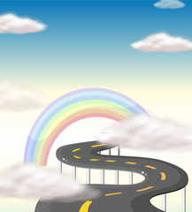 A long winding road going to the rainbow