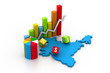 Digital illustration of business graph with India map