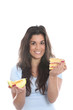 Model Released. Young Woman Holding Melon and Cake