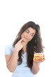 Model Released. Young Woman Holding Cake