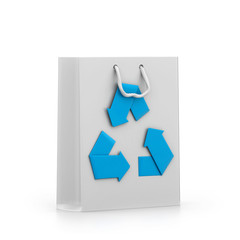 reusable shopping bag with recycle symbol