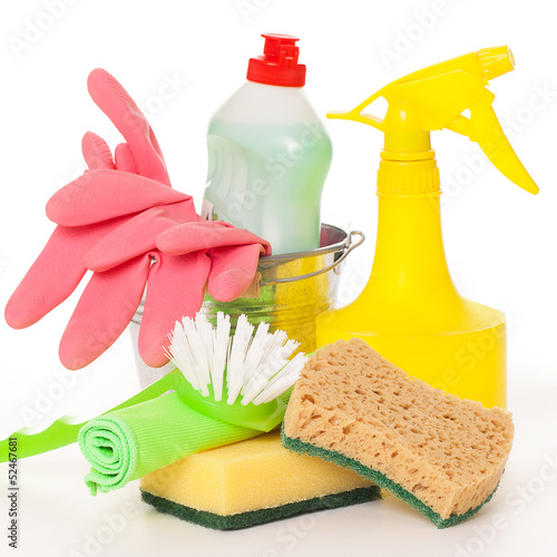 Bright colorful cleaning set on a background