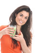 Model Released. Young Woman Drinking Apple and Asparagus Juice