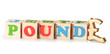 Pound word from wooden cubes