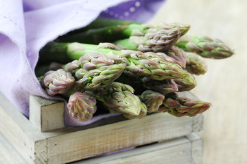 Fresh green asparagus stalks in a crate
