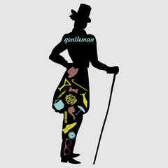 Gentleman's silhouette with various male accessories