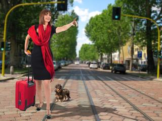 In viaggio turista in città con il cane