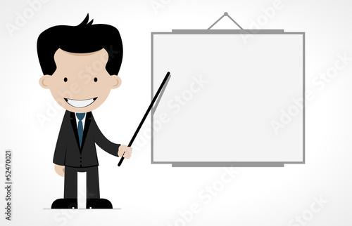 cartoon office worker with empty board