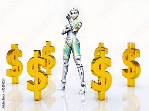 Female Robot with Dollar Signs