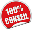 Sticker rot rund cu 100% CONSEIL