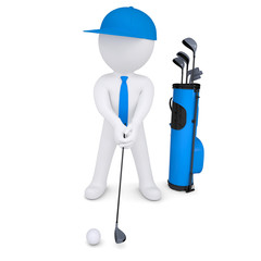 3d white man playing golf