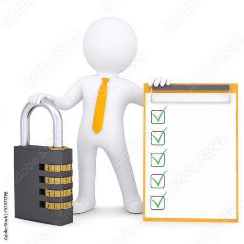 3d white man with combination lock and checklist