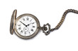 Antique pocket watch isolated on white background.