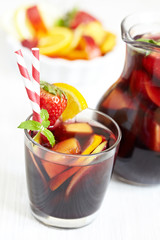 Sangria red wine with fruits