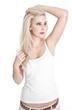 Blondine - Hübsches junges Mädchen isoliert auf Weiß