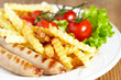 grilles sausages with french fries and salad