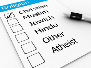 major world religions - Christian, Muslim, Jewish, Hindu, Atheis