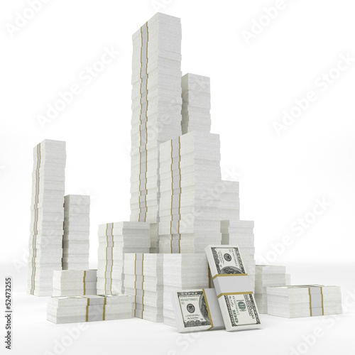Stacks of dollars on white background