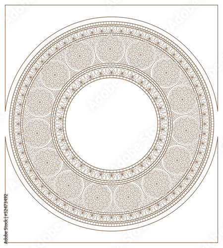 Mucha inspired round mosaic ornament colorless