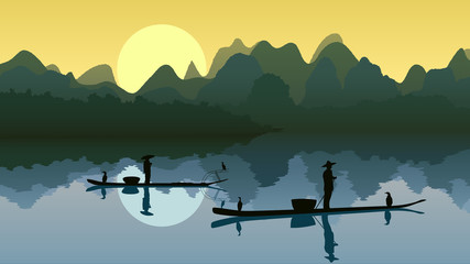 Vector illustration fisher on lake against sun.