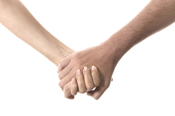 Model Released. Young Couple Holding Hands