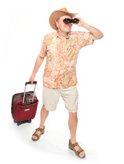 Traveling man with suitcase and binocular.