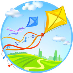 Kite and rural landscape