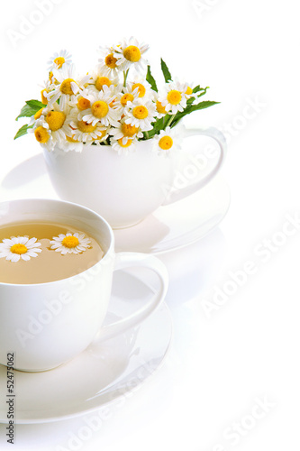 Cups of herbal tea and wild camomiles, isolated on white