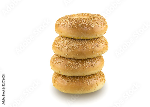 Sesame Seed Bagels Isolated on White Background