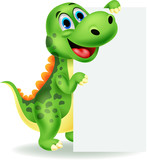 Cute dinosaur with blank sign
