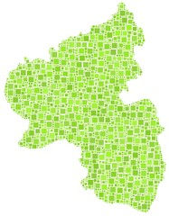 Map of Rhineland Palatinate in a mosaic of green squares