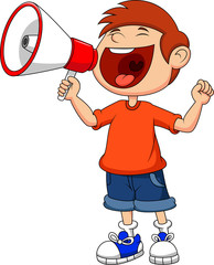 Cartoon boy yelling and shouting into a megaphone