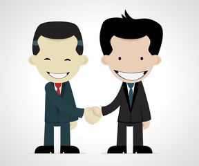 business handshake: caucasian and japanese